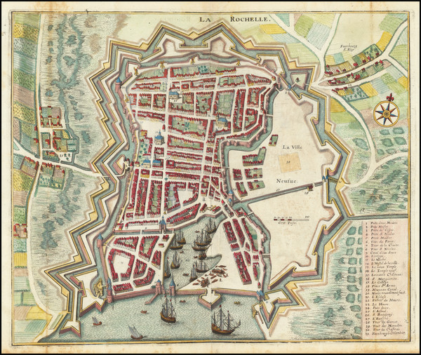 5-Other French Cities Map By Matthaus Merian