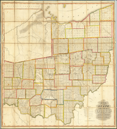 52-Ohio Map By John Melish / Benjamin Hough / Alexander Bourne