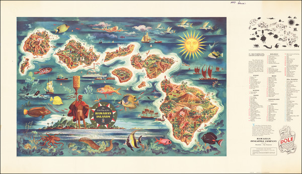 80-Hawaii, Hawaii and Pictorial Maps Map By Hawaiian Pineapple Company