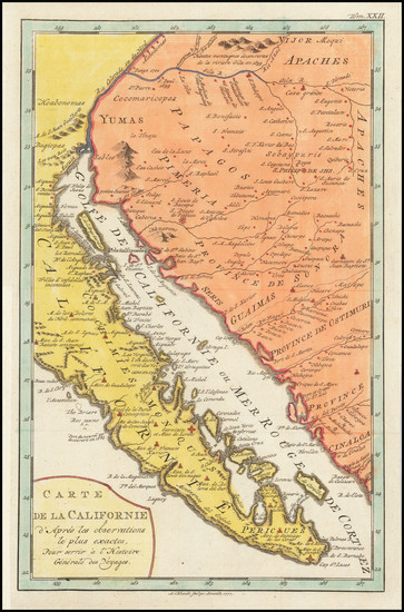 43-Southwest, Baja California and California Map By A. Krevelt