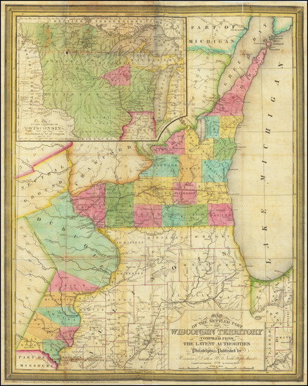 95-Minnesota, Wisconsin and Iowa Map By J.H. Young / Hinman & Dutton