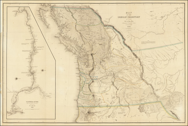 79-Idaho, Montana, Wyoming, Oregon, Washington, California and Canada Map By Charles Wilkes