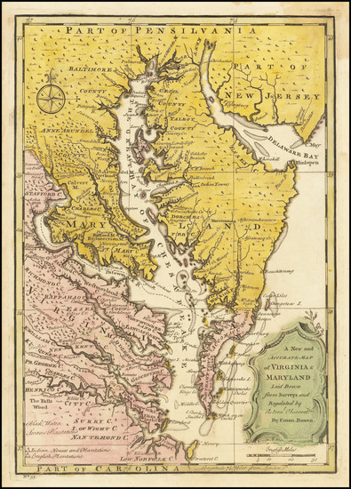 42-Maryland, Delaware, Southeast and Virginia Map By Emanuel Bowen