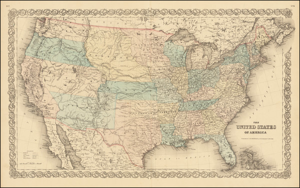 80-United States Map By Joseph Hutchins Colton