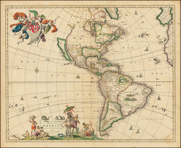 21-California as an Island and America Map By Nicolaes Visscher I