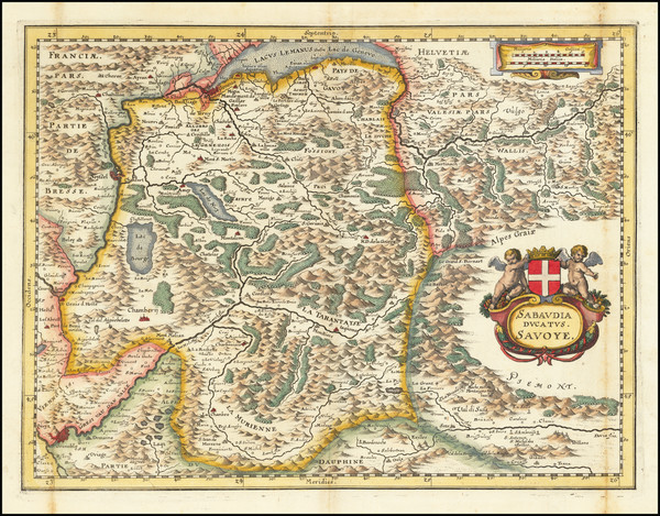 64-Switzerland and France Map By Matthaus Merian