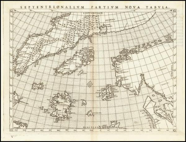 55-Polar Maps, Atlantic Ocean, Scandinavia and Iceland Map By Girolamo Ruscelli