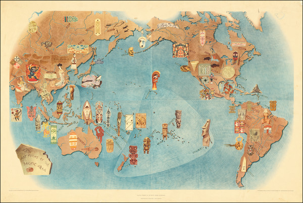 89-Pacific Ocean, North America, South America, Pacific and Pictorial Maps Map By Miguel Covarrubi