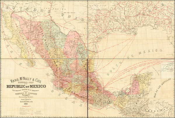 29-Texas, Southwest and Mexico Map By Rand McNally & Company