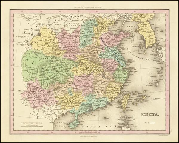 56-China and Korea Map By Henry Schenk Tanner