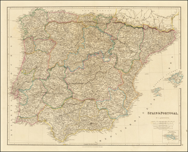 71-Spain and Portugal Map By John Arrowsmith