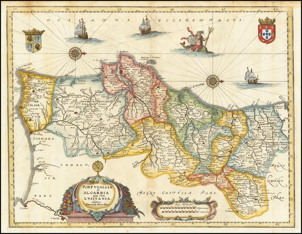 53-Portugal Map By Matthaus Merian