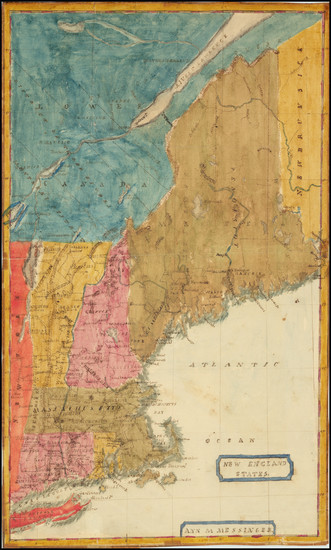 97-New England, Connecticut, Maine, Massachusetts, New Hampshire, Rhode Island and Vermont Map By