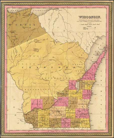 51-Wisconsin Map By Samuel Augustus Mitchell