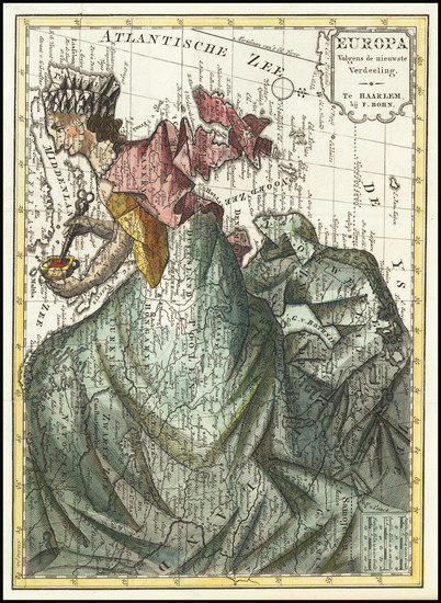 18-Europe and Curiosities Map By Francois Bohn