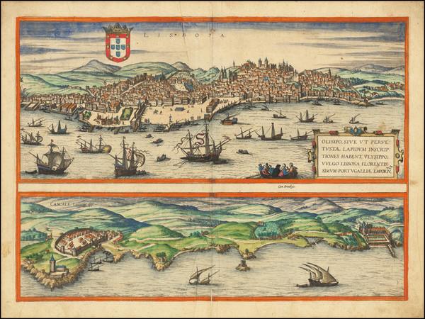41-Portugal Map By Georg Braun  &  Frans Hogenberg