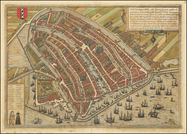4-Netherlands and Amsterdam Map By Georg Braun  &  Frans Hogenberg