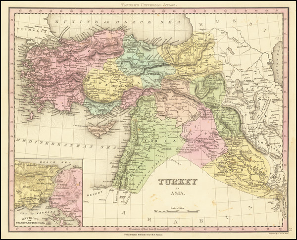 50-Turkey, Cyprus and Turkey & Asia Minor Map By Henry Schenk Tanner