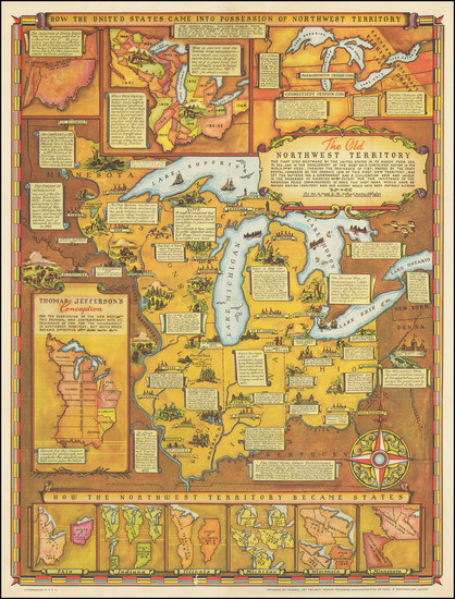 90-Midwest, Illinois, Indiana, Ohio, Michigan, Minnesota and Wisconsin Map By Fred Rentscher / Fed