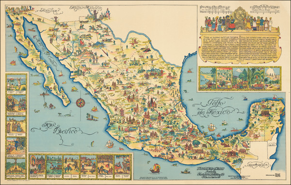 55-Mexico and Pictorial Maps Map By Fischgrund Publishing Company