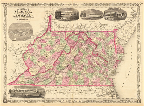 60-Maryland, Delaware, West Virginia and Virginia Map By Alvin Jewett Johnson