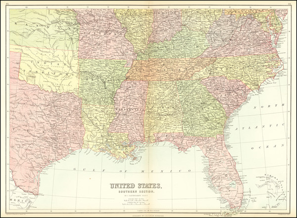 67-South, Southeast, Texas, Plains and Oklahoma & Indian Territory Map By Adam & Charles B