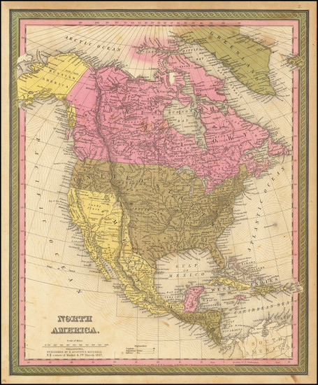63-North America Map By Samuel Augustus Mitchell