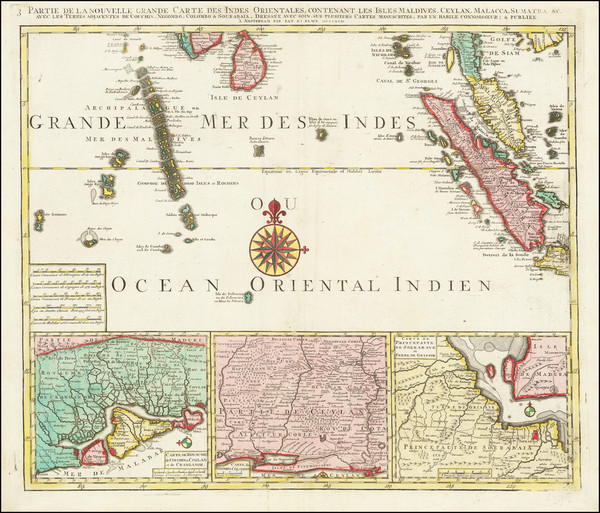 68-India, Singapore, Indonesia, Malaysia and Sri Lanka Map By Jan Barend Elwe