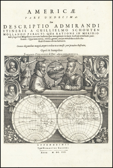 49-World, Title Pages and Portraits & People Map By Theodor De Bry / Willem Schouten