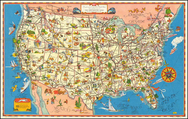 94-United States and Pictorial Maps Map By Greyhound Company