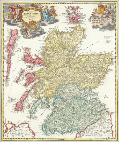 90-Scotland Map By Johann Baptist Homann