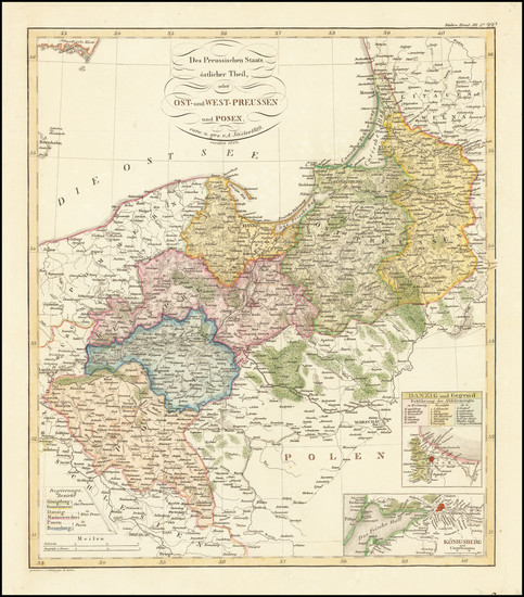 83-Germany and Poland Map By Adolf Stieler