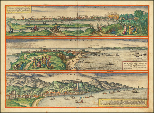 65-Spain Map By Georg Braun  &  Frans Hogenberg