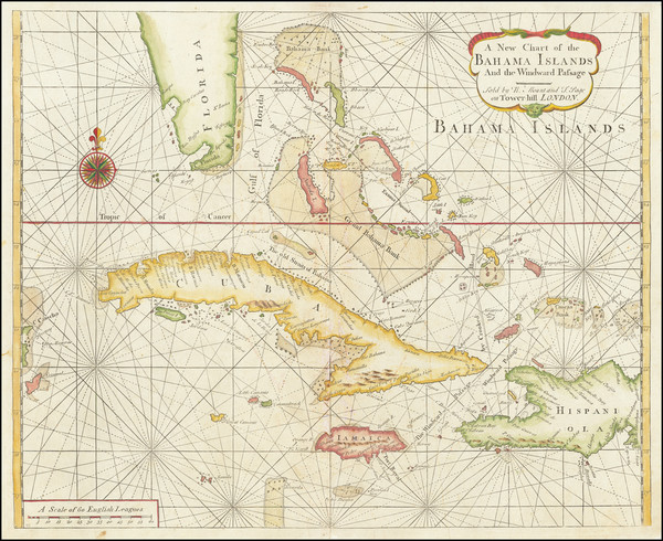 87-Florida, Caribbean, Cuba and Bahamas Map By William Mount  &  Thomas Page