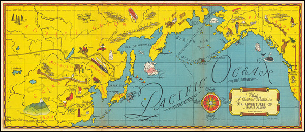 9-Pacific Ocean, Pacific Northwest, China, Pacific and Pictorial Maps Map By Skelly Oil Co.