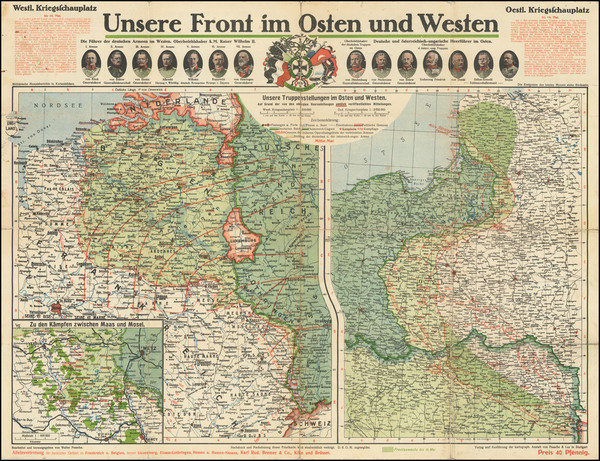 90-World War I Map By Anstalt von Pasche & Luz