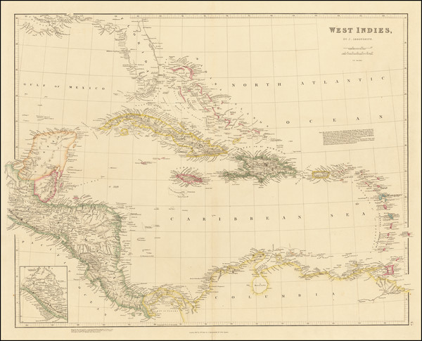 6-Florida, Caribbean and Central America Map By John Arrowsmith