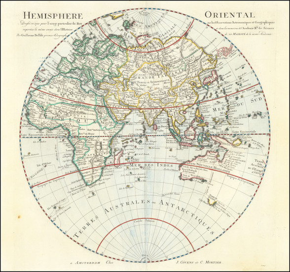 33-Eastern Hemisphere Map By Johannes Covens  &  Pieter Mortier