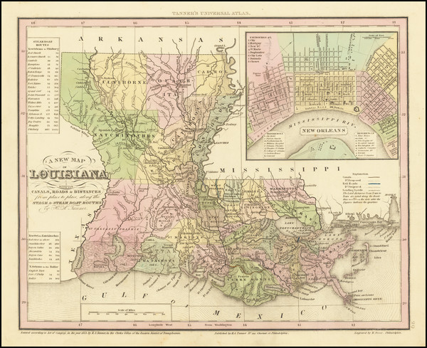 43-Louisiana and New Orleans Map By Henry Schenk Tanner