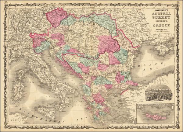 57-Hungary, Balkans, Greece and Turkey Map By Benjamin P Ward  &  Alvin Jewett Johnson