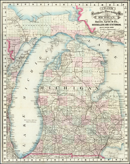 13-Michigan Map By George F. Cram