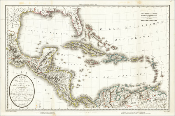 68-South, Southeast, Mexico, Caribbean and Central America Map By Pierre Antoine Tardieu