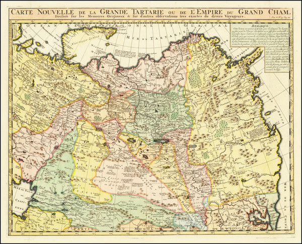 92-China, Central Asia & Caucasus and Russia in Asia Map By Henri Chatelain