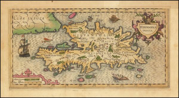 48-Hispaniola Map By Jodocus Hondius /  Gerard Mercator