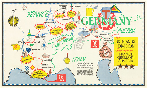 56-Europe, Western Europe and World War II Map By Anonymous