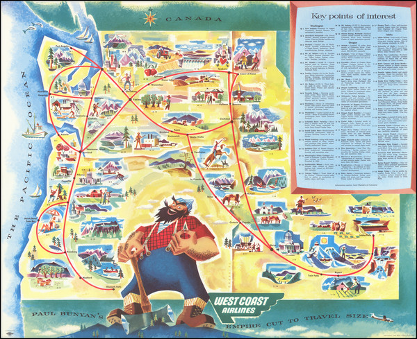 35-Idaho, Oregon, Washington and Pictorial Maps Map By West Coast Airlines