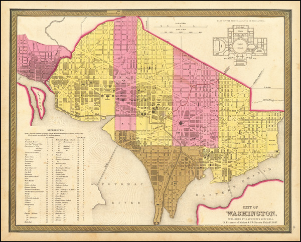 73-Washington, D.C. Map By Samuel Augustus Mitchell
