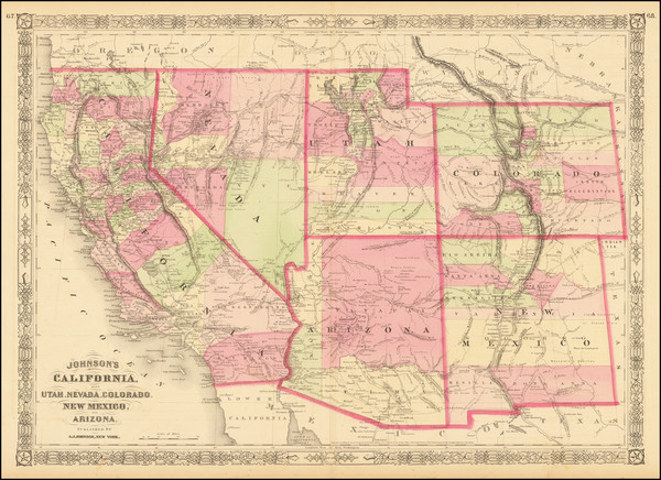 58-Plains, Southwest, Rocky Mountains and California Map By Alvin Jewett Johnson