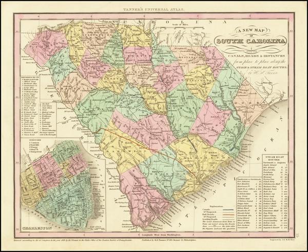 42-South Carolina Map By Henry Schenk Tanner