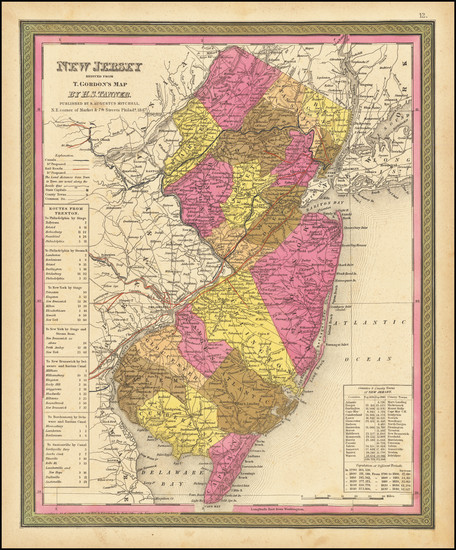 35-New Jersey Map By Samuel Augustus Mitchell